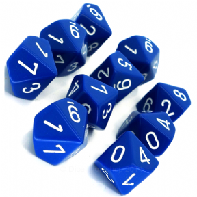 Blue & White Opaque D10 Ten Sided Dice Set